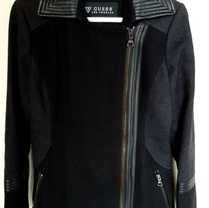 GUESS Los Angeles Wool Leather Coat